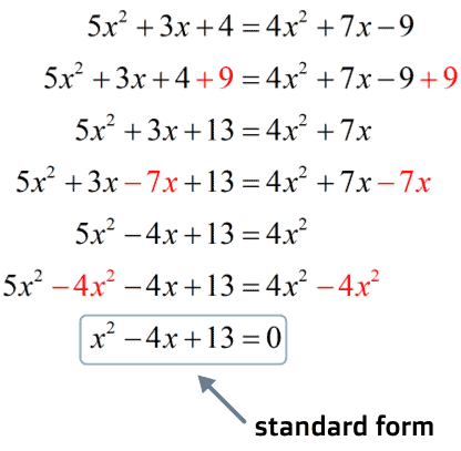 the standard form is x^2-4x+13=0