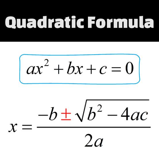 x=(-b+ or - sqrt(b^2-4ac))/2a